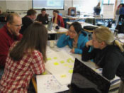Workshop participants construct a concept map on paper