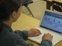 Leah working on her concept map in the Concept Map Builder