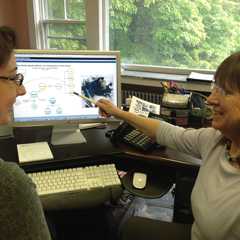 Scientist Mary Jane Perry (right) and educator Carla Companion collaborate on a webinar about the bloom